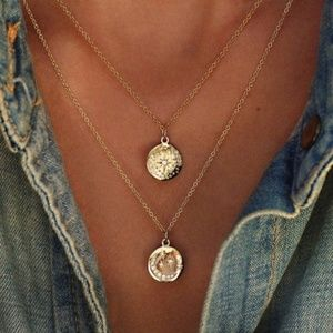 Layered Double Star Coin Necklace